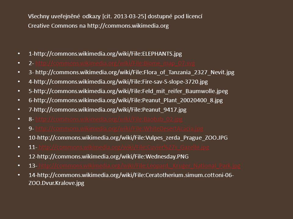 Všechny uveřejněné odkazy [cit. 2013-03-25] dostupné pod licencí
